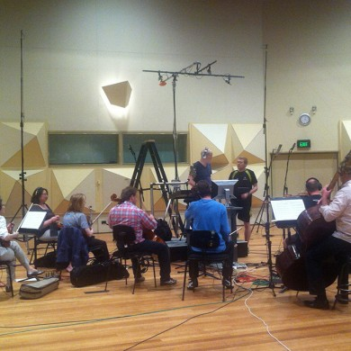 11 piece string section session recording Jared's composition